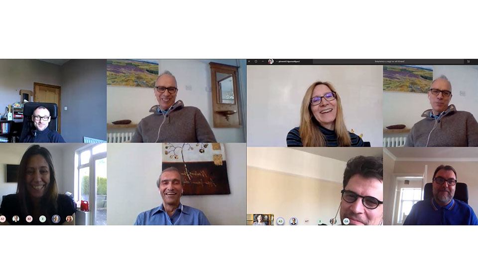 Screenshot of winners of awards with Professor Steve Rothberg on a video call