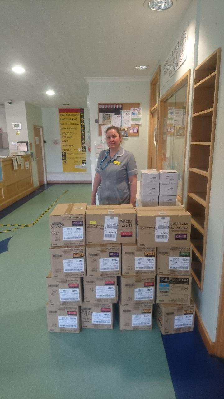 Photo of the 大学's PPE donations for Loughborough Hospital