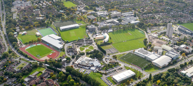 An aerial photograph of campus